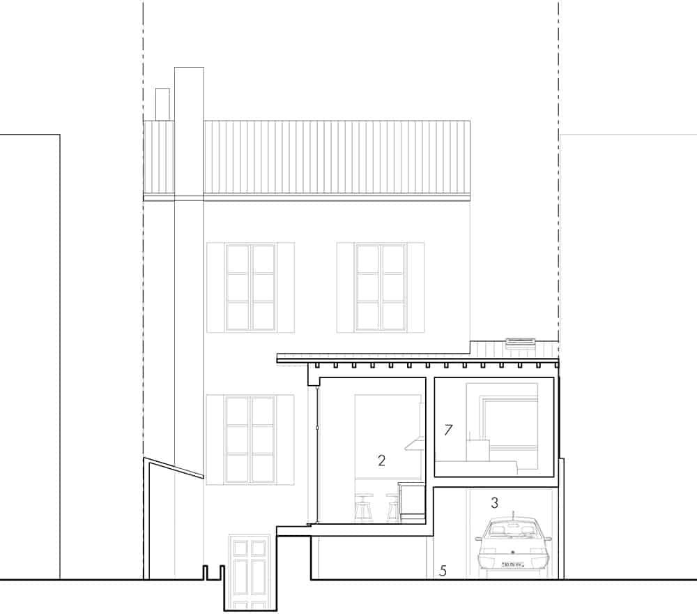 Extension et surélévation d'une maison coupe