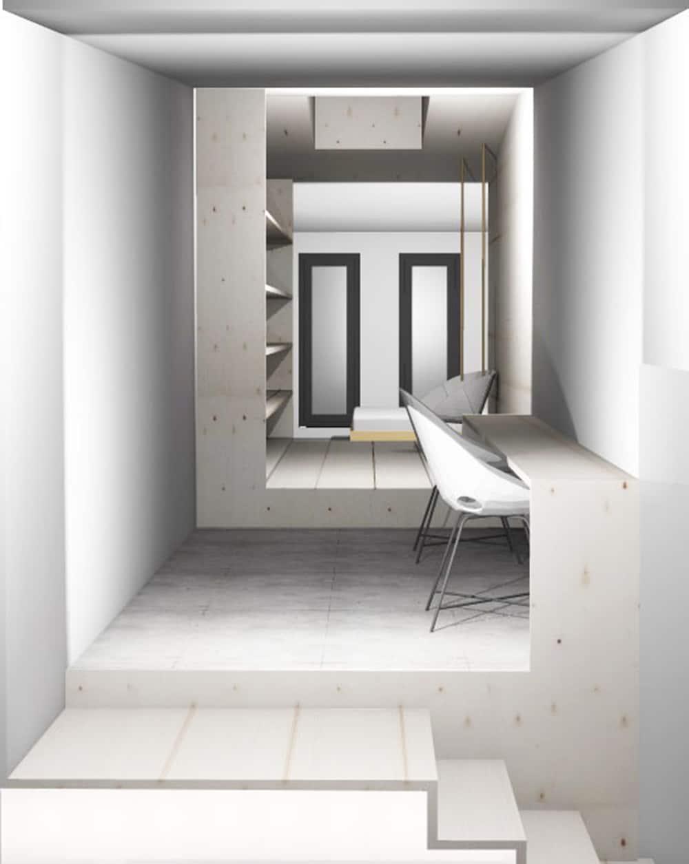 Création d'une chambre, espace bibliothèque et coin bureau
