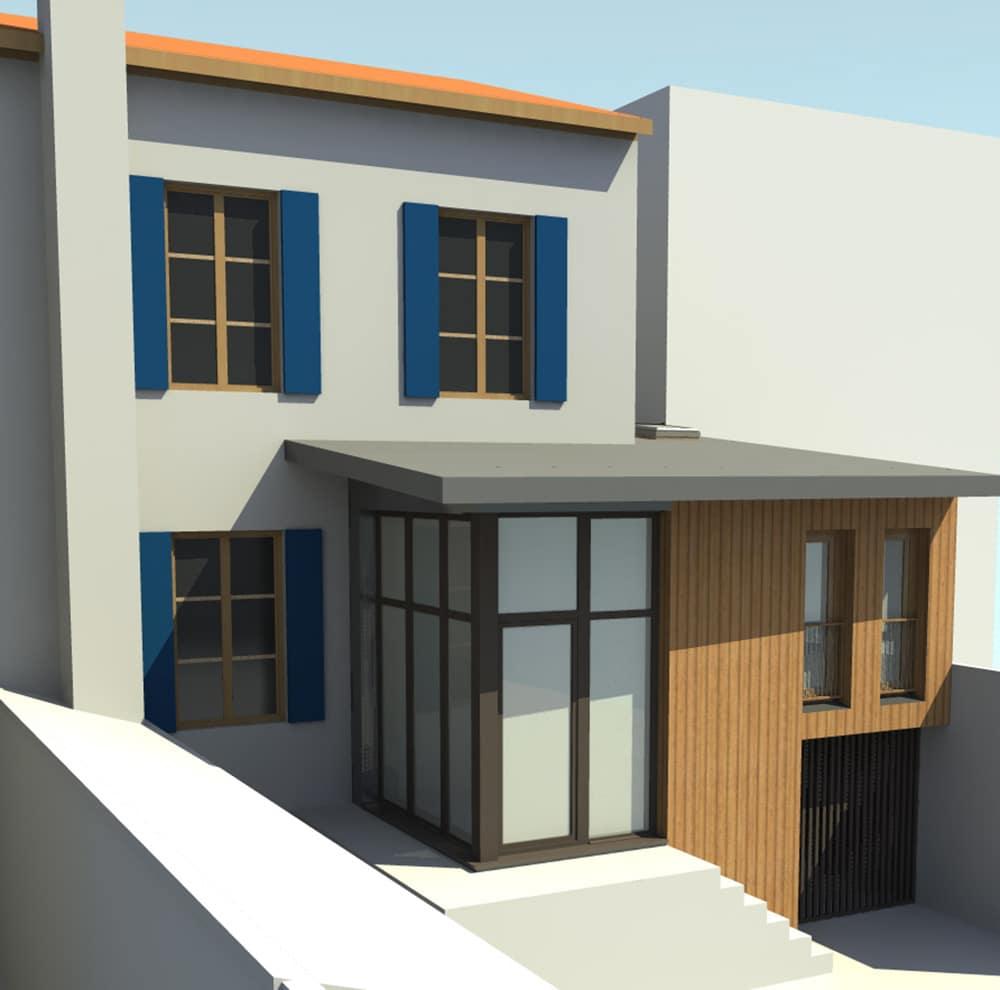 extension et sur l vation d une maison de ville pa. Black Bedroom Furniture Sets. Home Design Ideas
