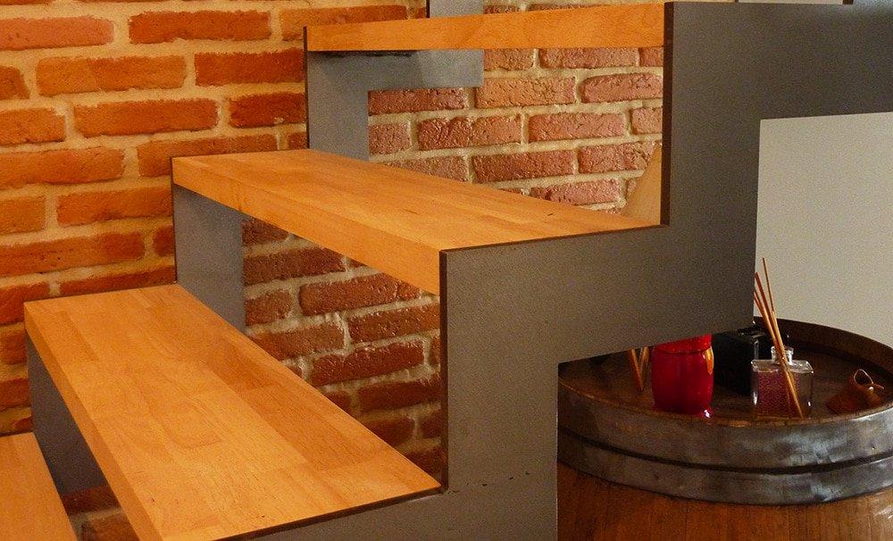 maison individuelle escalier contemporain métal bois